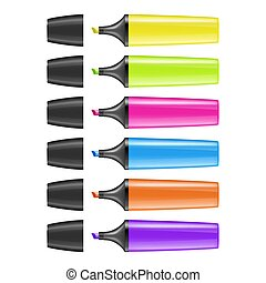 Realistic vector highlighter pen icon set isolated on white background. Colorful text markers. Design template in EPS10.