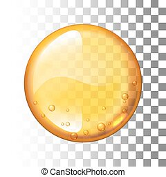 Realistic vector honey drop on transparent background