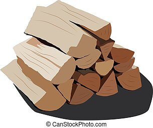 realistic vector illustration isolated firewood