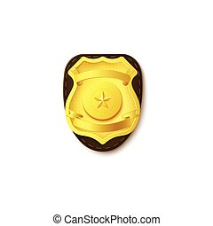 Realistic vector illustration of a gold police badge with a star.