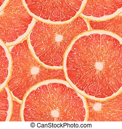 Realistic vector illustration of a grapefruit slice seamless pattern