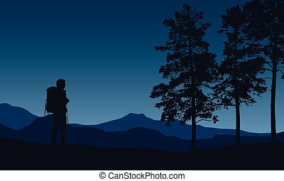 Realistic vector illustration of a night mountain landscape with trees and standing tourist with a backpack