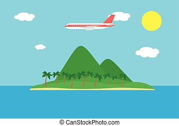 Realistic vector illustration of a tropical island with hills and palm trees and a large plane flying between clouds on a blue sky with the sun - suitable for advertising