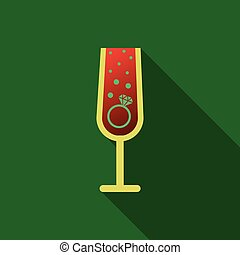 Realistic vector illustration of champagne glasses with sparkling white wine and empty glass. Love heart concept. Ring for engagement and Valentine's day.