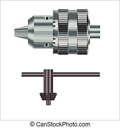 Realistic vector illustration of drill chuck an a special key