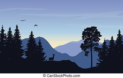 Realistic vector illustration of mountain landscape with forest, deer and eagle under the sky with rising sun