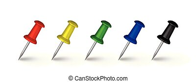 Realistic vector illustration of multicolored pushpins isolated