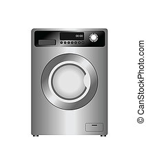 Realistic vector illustration of new washing machine...