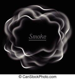 Realistic vector illustration of smoke on black background
