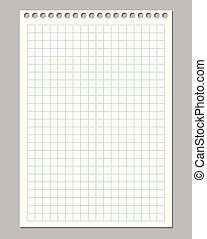 Realistic vector illustration of squared paper sheet