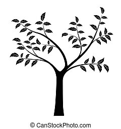 Realistic vector illustration of tree with branches and leaves, isolated