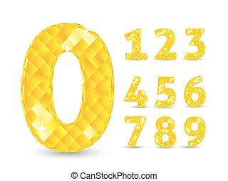 Realistic vector illustration with diamond numbers set