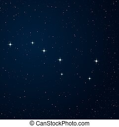 Realistic vector image of constellation Ursa major on the night sky.