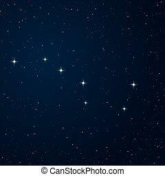 Realistic vector image of constellation Ursa major on the night sky.