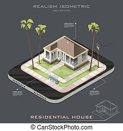 Realistic Vector isometric House on Earth icon