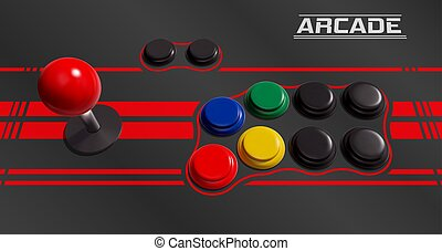 Realistic Vector Joystick and Buttons for Retro Arcade Cabinet
