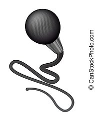 Realistic vector microphone with long wire isolated on white background