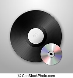 Realistic vector music gramophone vinyl LP record and cd icons. Design template.