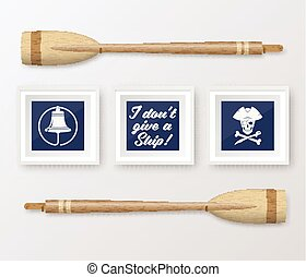 Realistic Vector Navy or Marine Picture Frames Set, Mounted on the White Wall Interior with Wooden Paddles. Soft Shadows. Isolated