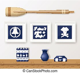 Realistic Vector Navy or Marine Picture Frames Set, Mounted on the White Wall Interior with Wooden Paddle and Book Shelf. Soft Shadows