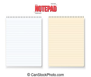 Realistic Vector Notepad Set Isolated on White