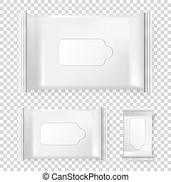 Realistic vector pack of wet wipes icon set isolated on transparent background. Vector design template for branding. Closeup design template, mockup in EPS10.