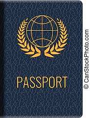 Realistic vector Passport mockup. Front cover of High detailed leather cover of passport.