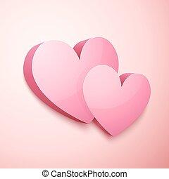 Realistic vector pastel Valentines hearts