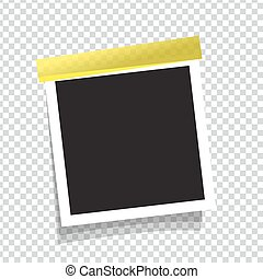 Realistic vector photo frame on sticky tape.