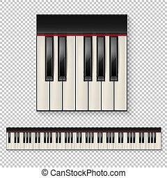 Realistic vector piano keys closeup isolated and keyboard icon set isolated on transparent background. Design template.