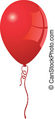Realistic red balloon with dangling curly ribbon in vector format
