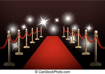 Realistic vector red event carpet , gold barriers and ...