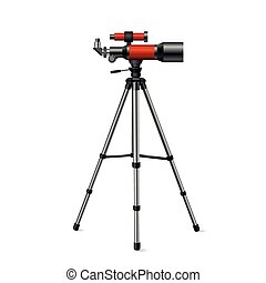 realistic vector red telescope on a tripod silver on a white background