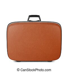 Realistic vector retro vintage leather brown suitcase closeup isolated on white background. Design template, clipart or mockup for graphics, branding, advertising. Side view