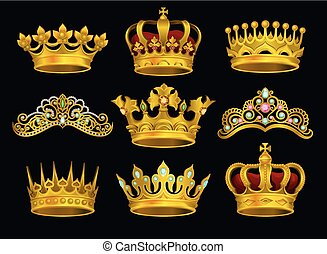 Realistic vector set of golden crowns and tiaras decorated with precious stones. Shiny headdress of royal person