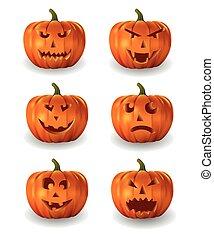 Realistic vector set of halloween pumpkins.
