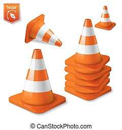 Realistic vector - set of orange road cones with stripes.
