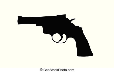 Realistic vector silhouette of revolver isolated on white background