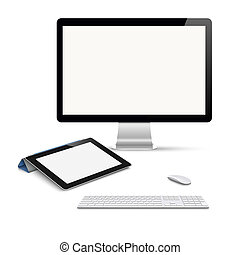 Realistic vector tablet computer, monitor with keyboard and mouse