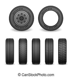 Realistic vector tires set. Car tires with different tread marks. Vector wheel icons
