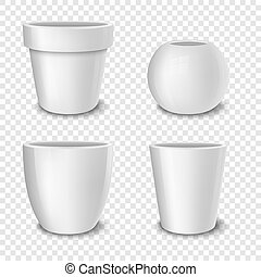 Realistic vector white empty flower pot set. Closeup isolated on transparent background. Design template for branding, mockup. EPS10.