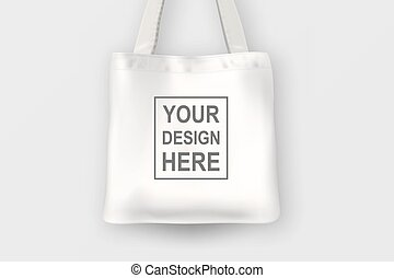 Realistic vector white empty textile tote bag. Closeup...