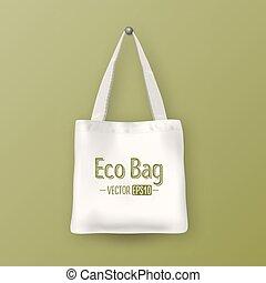 Realistic vector white empty textile tote bag. Closeup on...