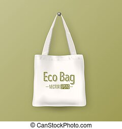 Realistic vector white empty textile tote bag. Closeup on...