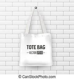 Realistic vector white textile tote bag. Closeup on brick...