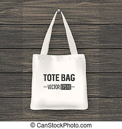 Realistic vector white textile tote bag. Closeup on wood...
