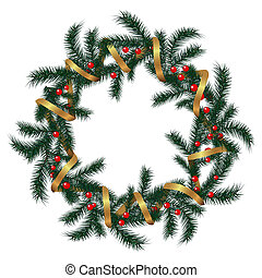 Realistic vector wreath with gold ribbon and red berries on evergreen branches