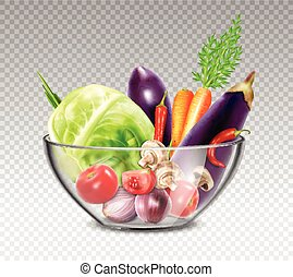 Realistic Vegetables In Glass Bowl