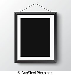 Realistic vertical black photo picture frame