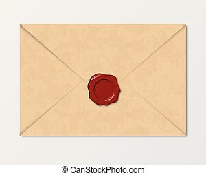 Realistic vintage envelope of old paper with wax sea - vector